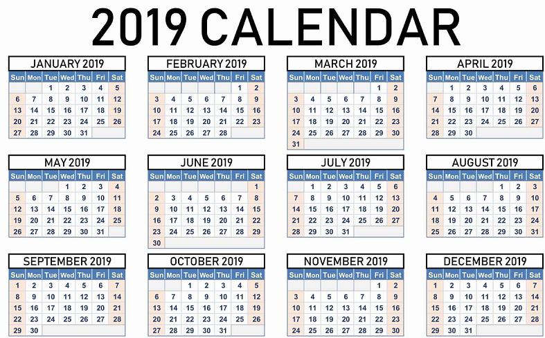 2019 Calendar Events